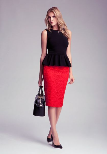 bebe lace pencil skirt in lyst