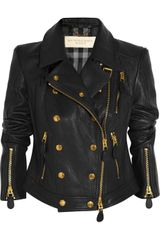Burberry Brit Cropped Textured leather Biker Jacket - Lyst
