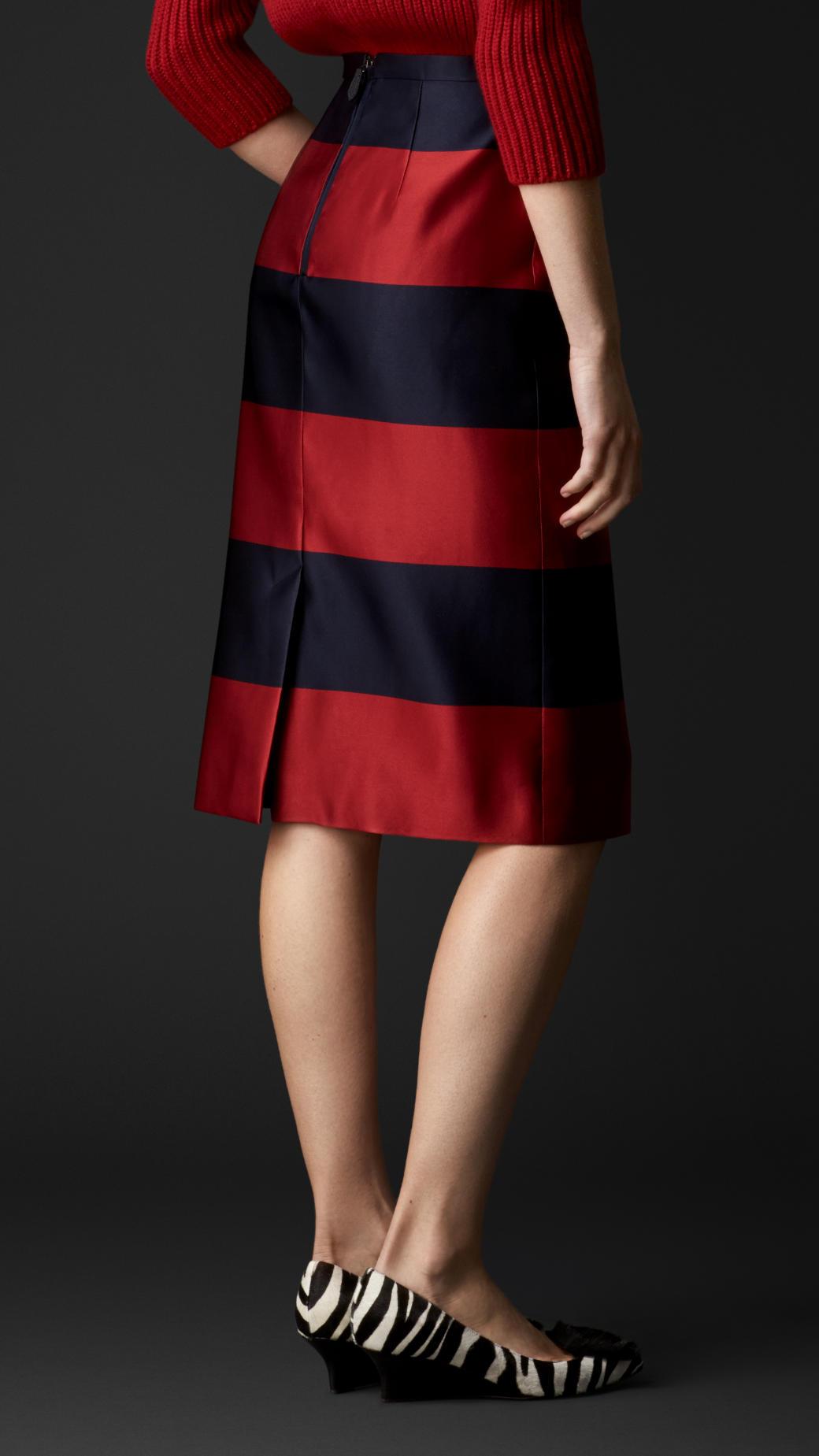 Lyst Burberry Duchess Silk Satin Pencil Skirt In Red