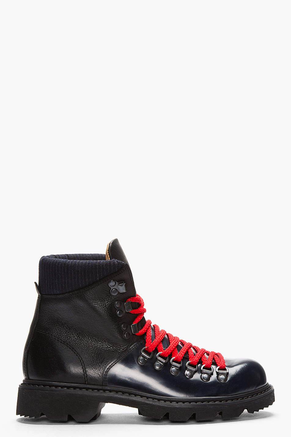 Carven Black Leather Hiking Boots in Black for Men | Lyst