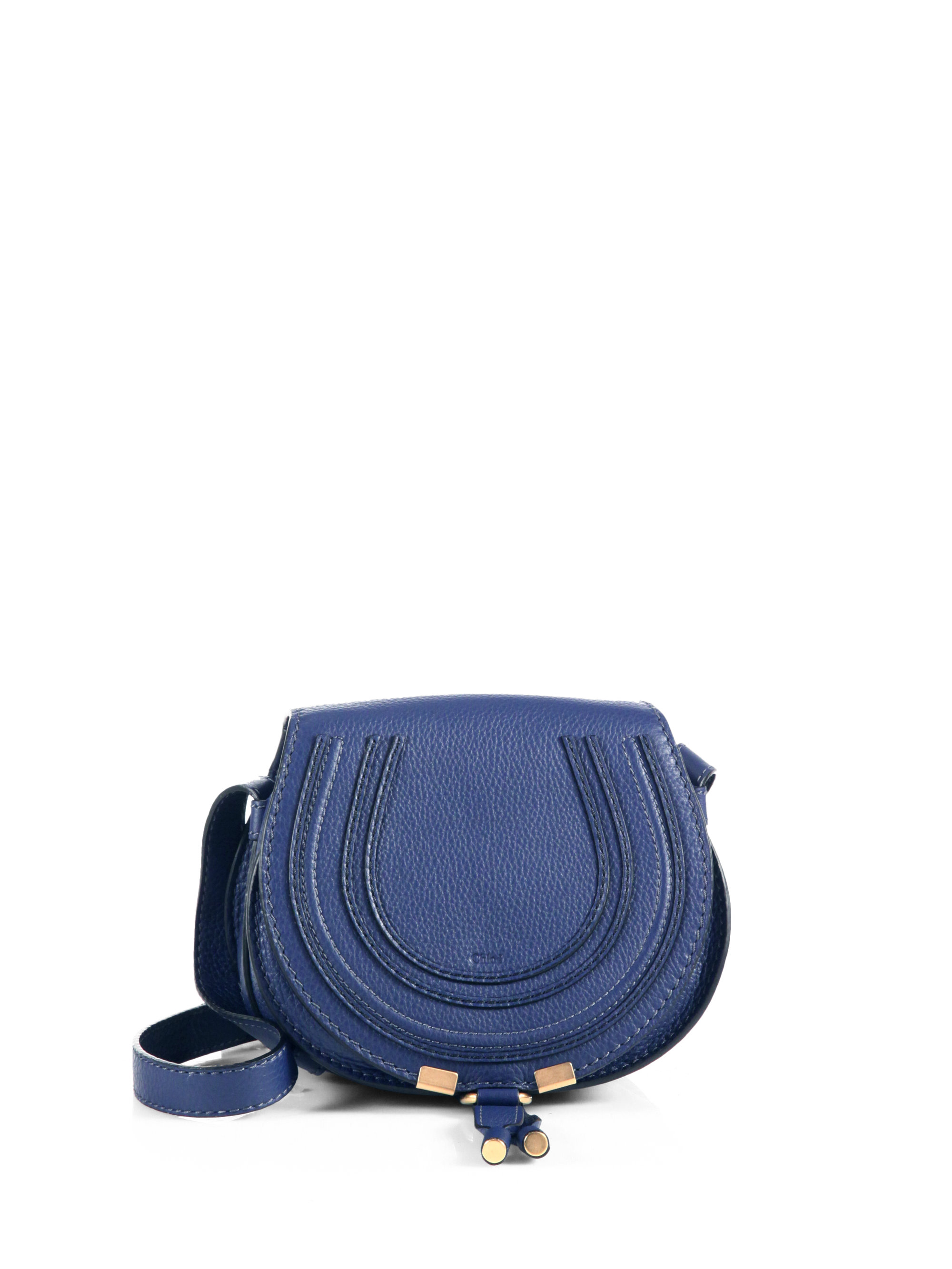 41b9611364f Chloé Marcie Small Round Crossbody Bag in Blue - Lyst