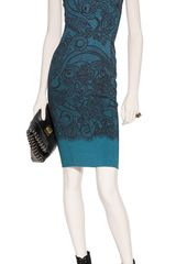 Emilio Pucci Petrolblack Lace Print Dress in Blue (petrol) - Lyst