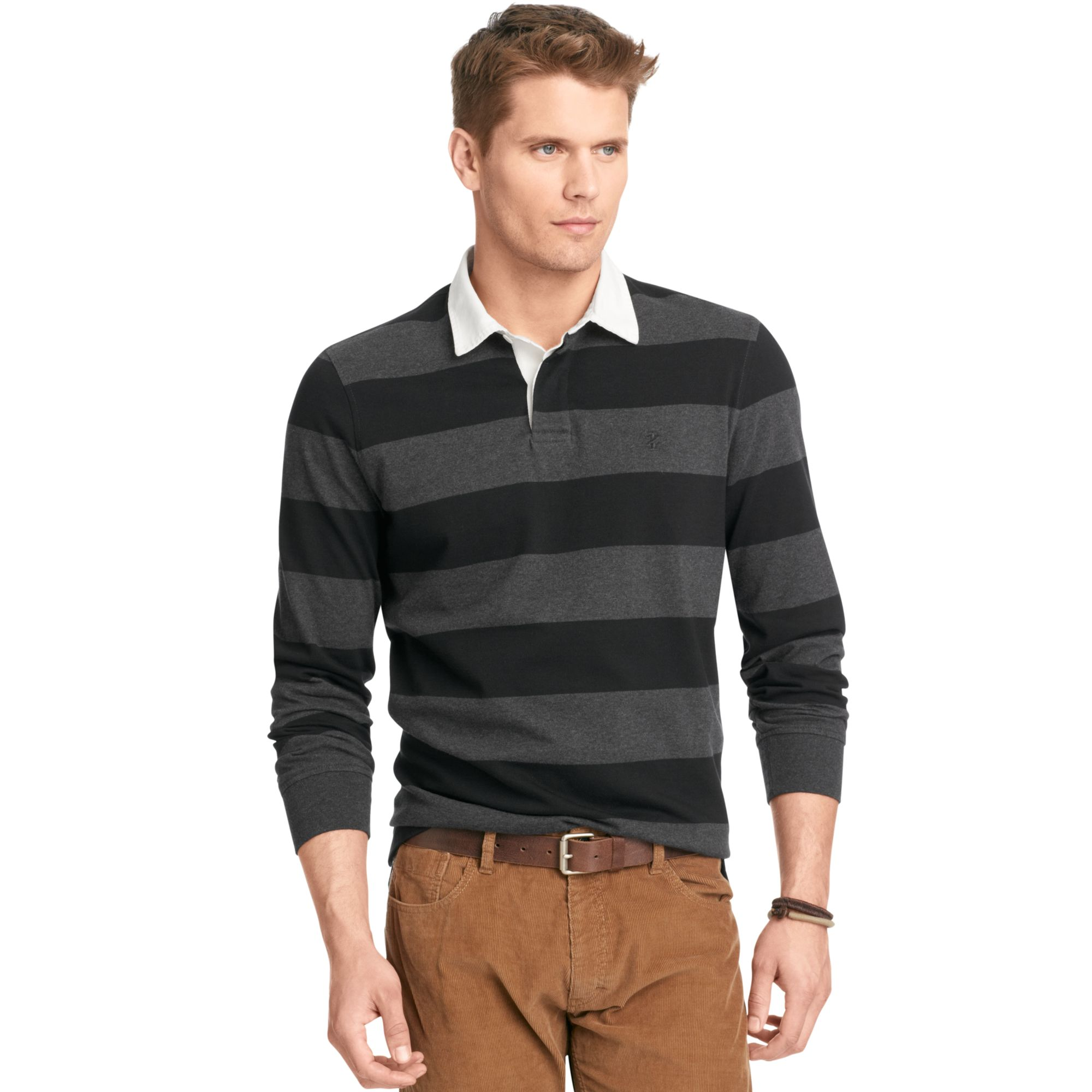 Izod Izod Shirt Long Sleeve 5050 Striped Rugby Polo In