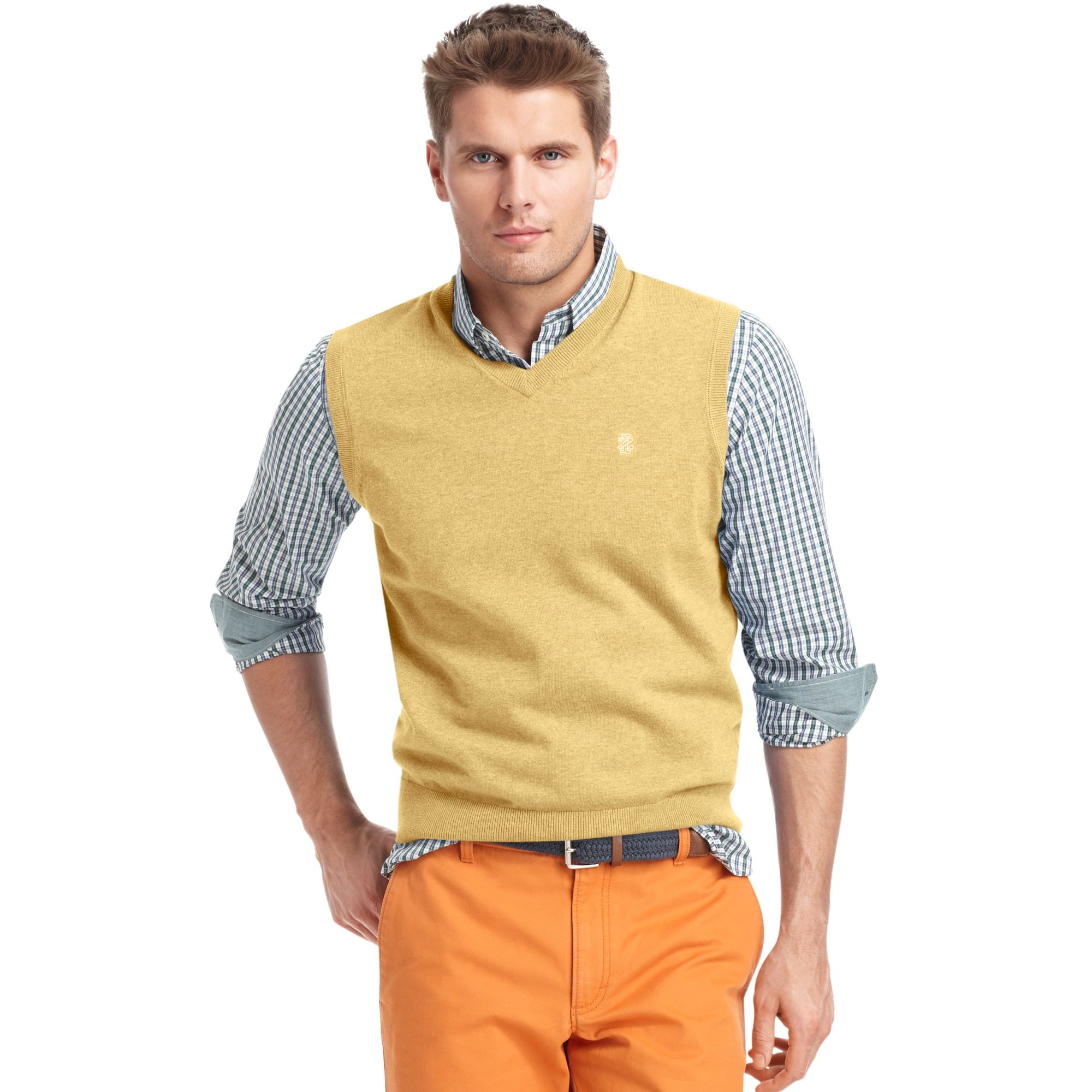 Izod Izod Sweater Vest V Neck Essential Fine Gauge Light Weight ...