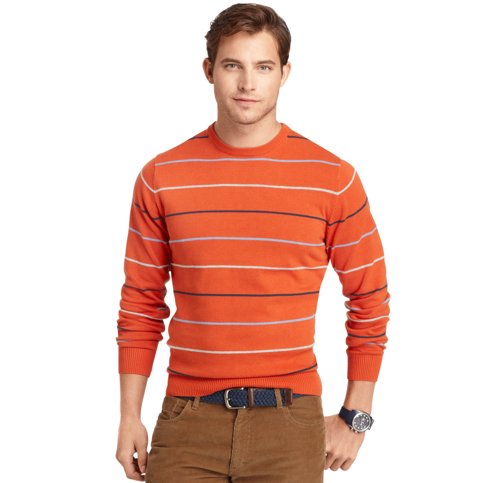 Izod Izod Sweater Crew Neck Thin Stripe Fine Gauge