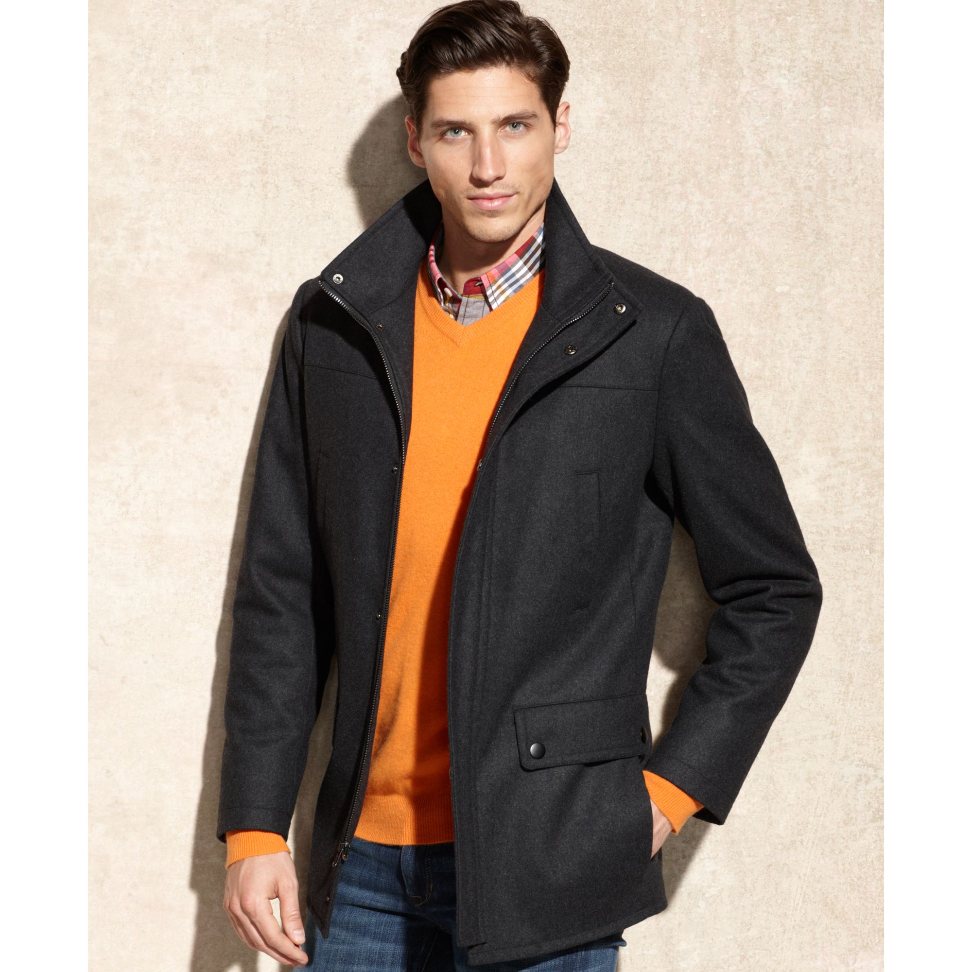 Kenneth cole Wool-blend Car Coat in Gray for Men | Lyst