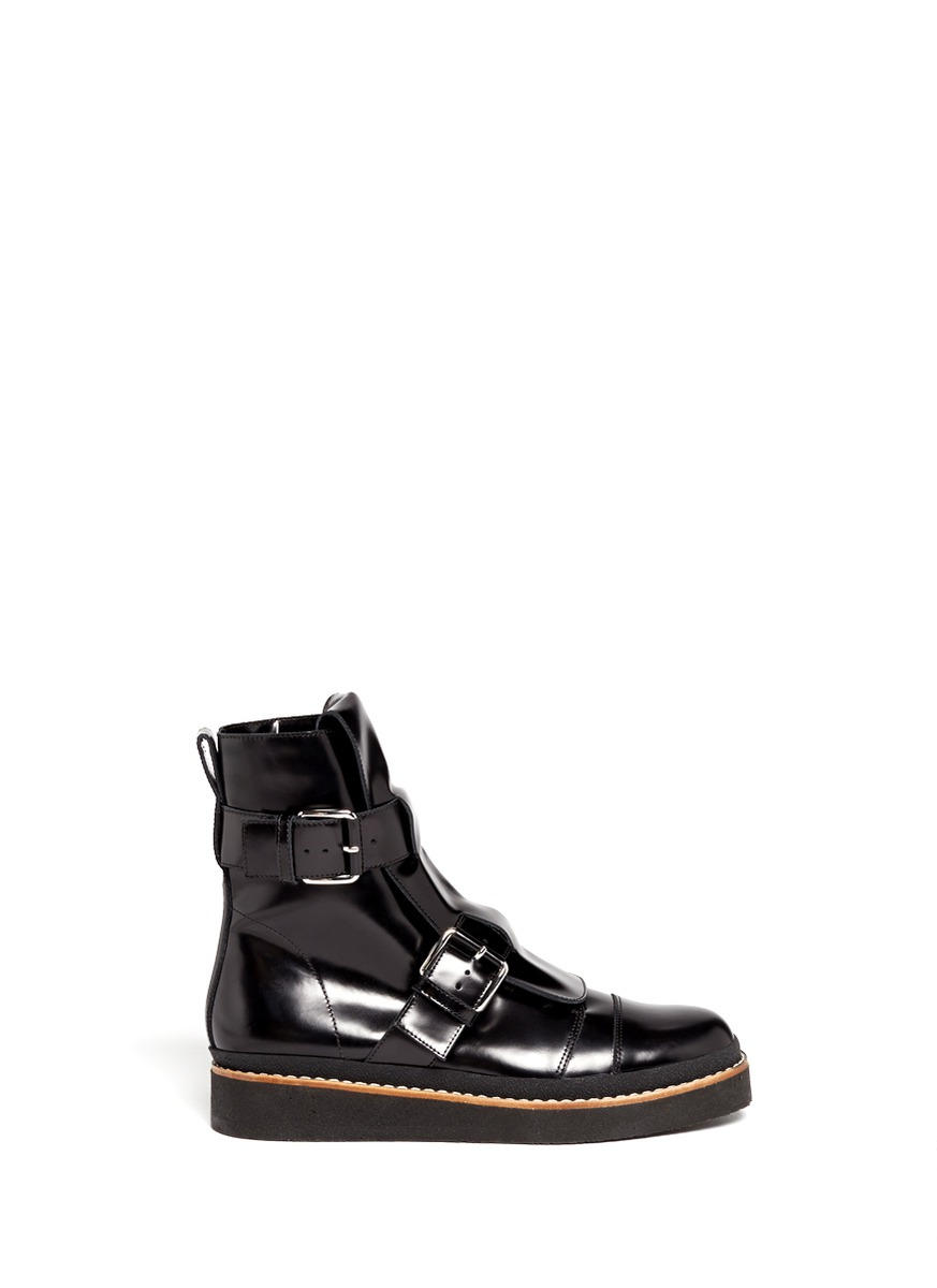 Marni Buckle-flap Lace-up Combat Boots in Black | Lyst