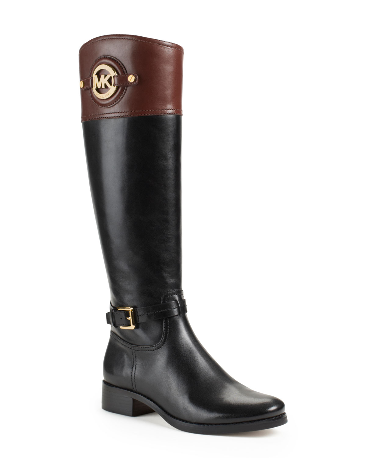 Michael kors Michael Stockard Twotone Leather Riding Boot in Black ...