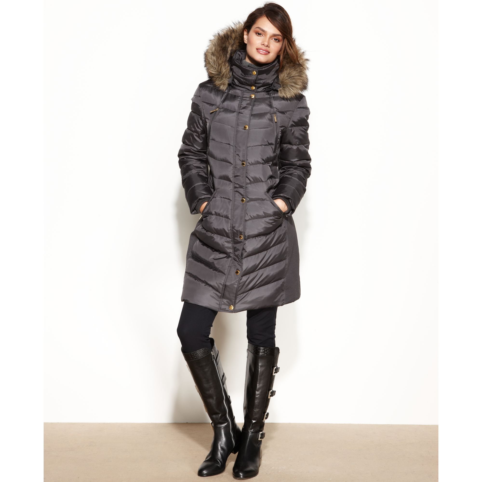 Lyst Michael Kors Hooded Fauxfur Trim Puffer In Metallic