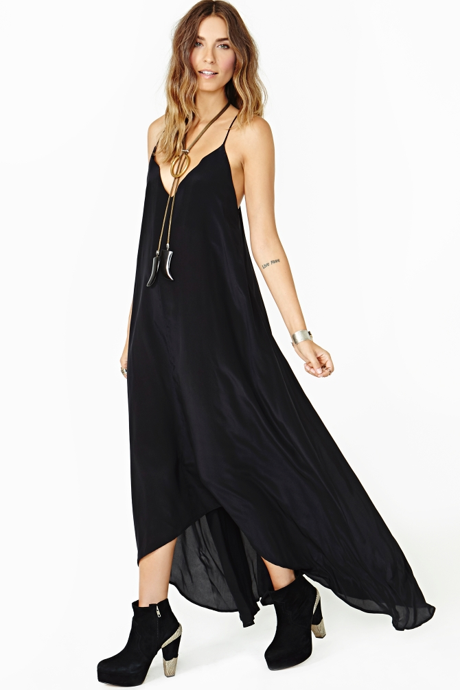 0e7dca1913 Nasty Gal Lily Silk Maxi Dress in Black - Lyst