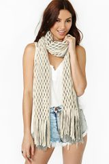 Nasty Gal Lattice Fringe Scarf - Lyst