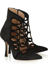 Oscar de la Renta Empire Cut-out Suede Ankle Boots - Lyst