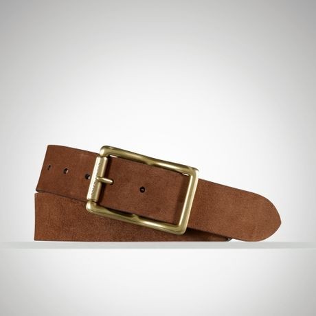 ralph suede chunky centerbar belt in brown for