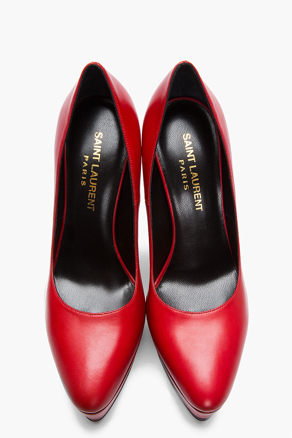 Lyst Saint Laurent Red And Gold Ziggy Platform Heels In Red