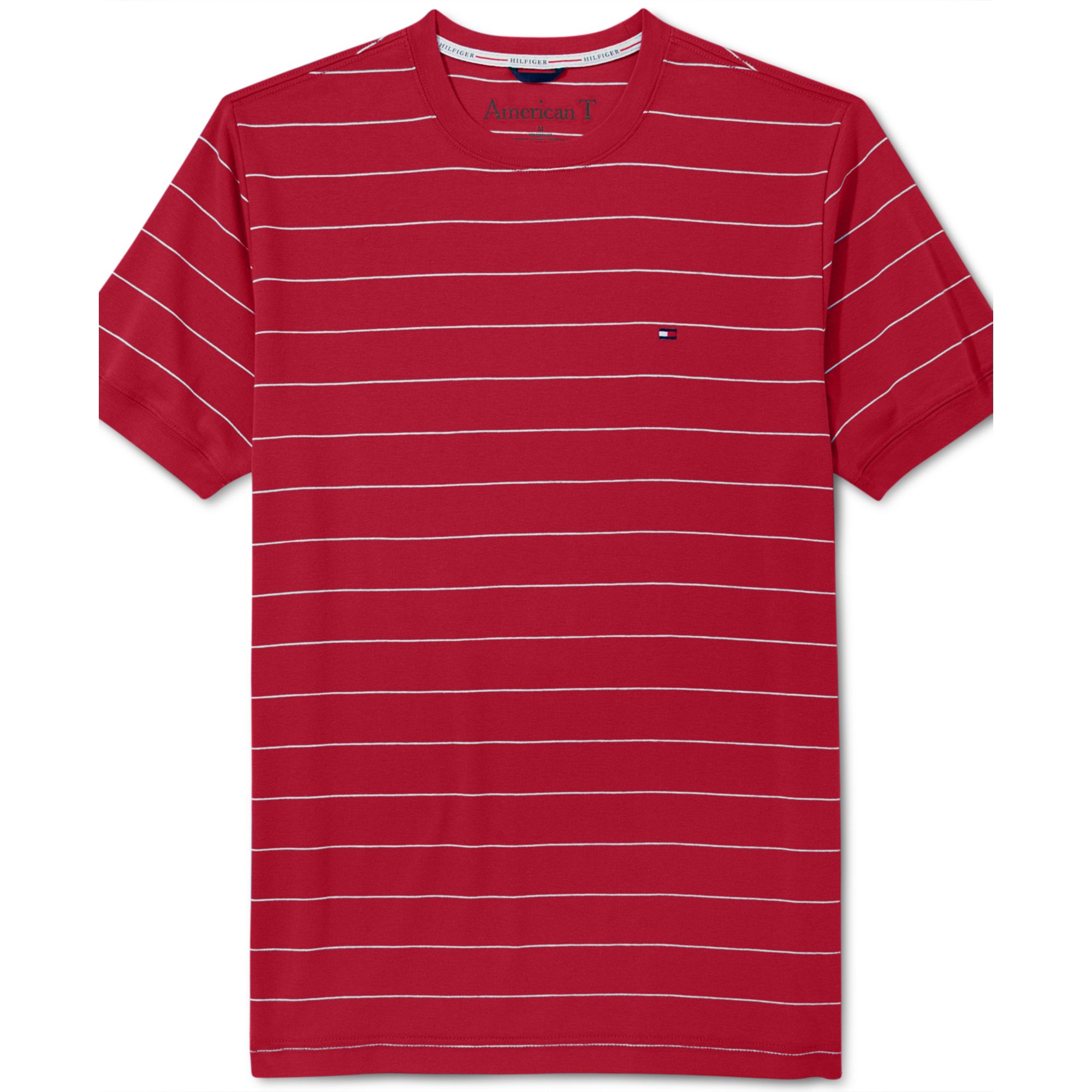 55366abb18d1 Tommy Hilfiger American Striped T-shirt in Red for Men - Lyst