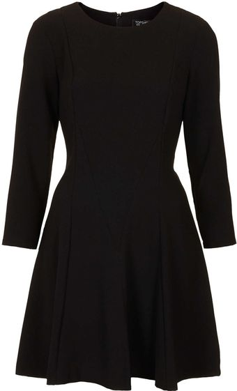 Topshop Crepe Fit and Flare Dress - Lyst