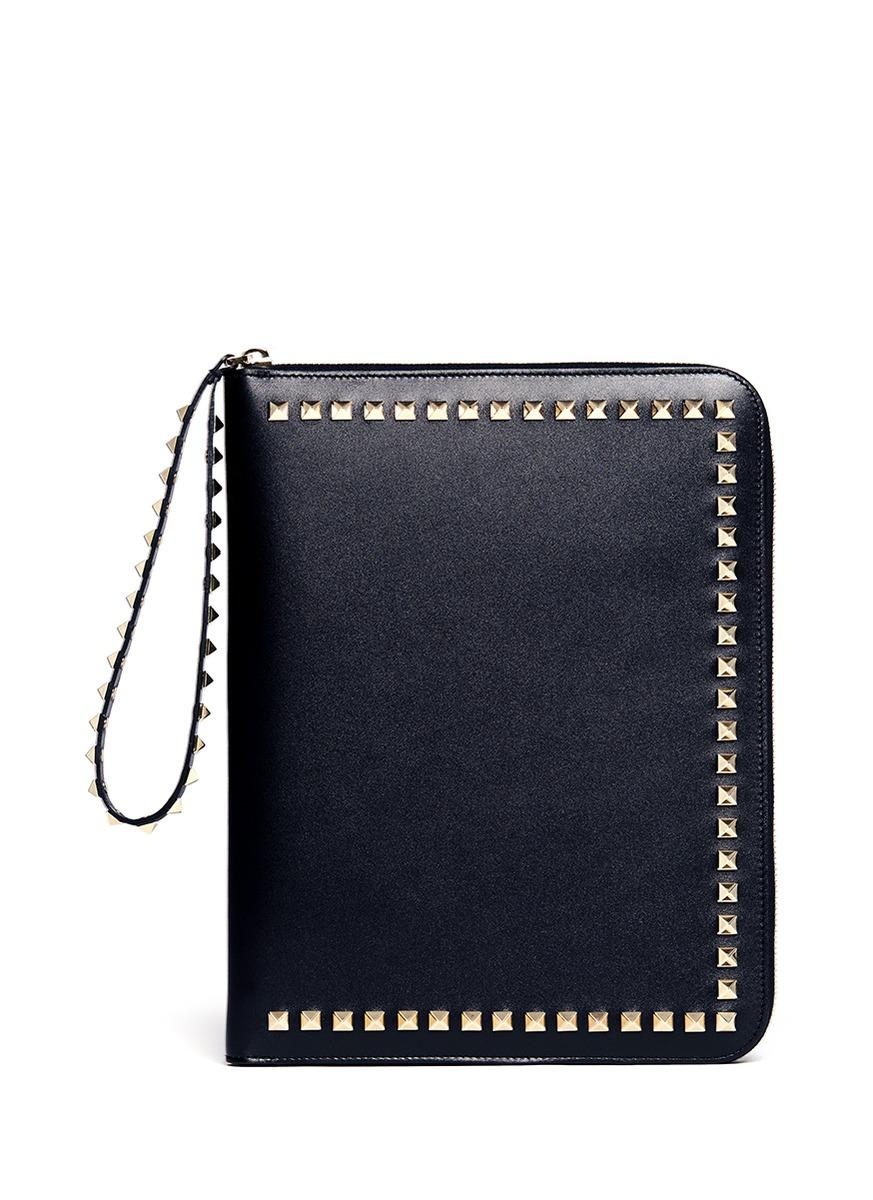 dc7073535 Valentino Rockstud Zip-around Ipad Case in Black - Lyst