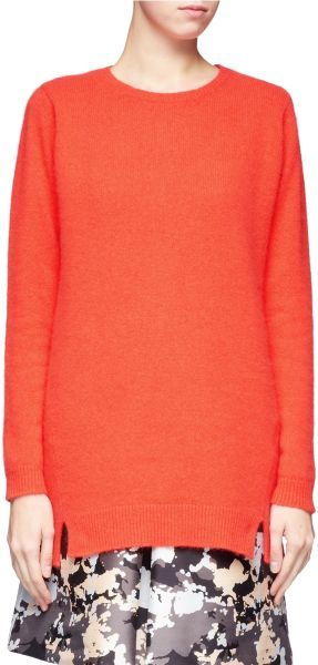 Whistles Devon Angora Long Sweater in Orange (Yellow and Orange) - Lyst