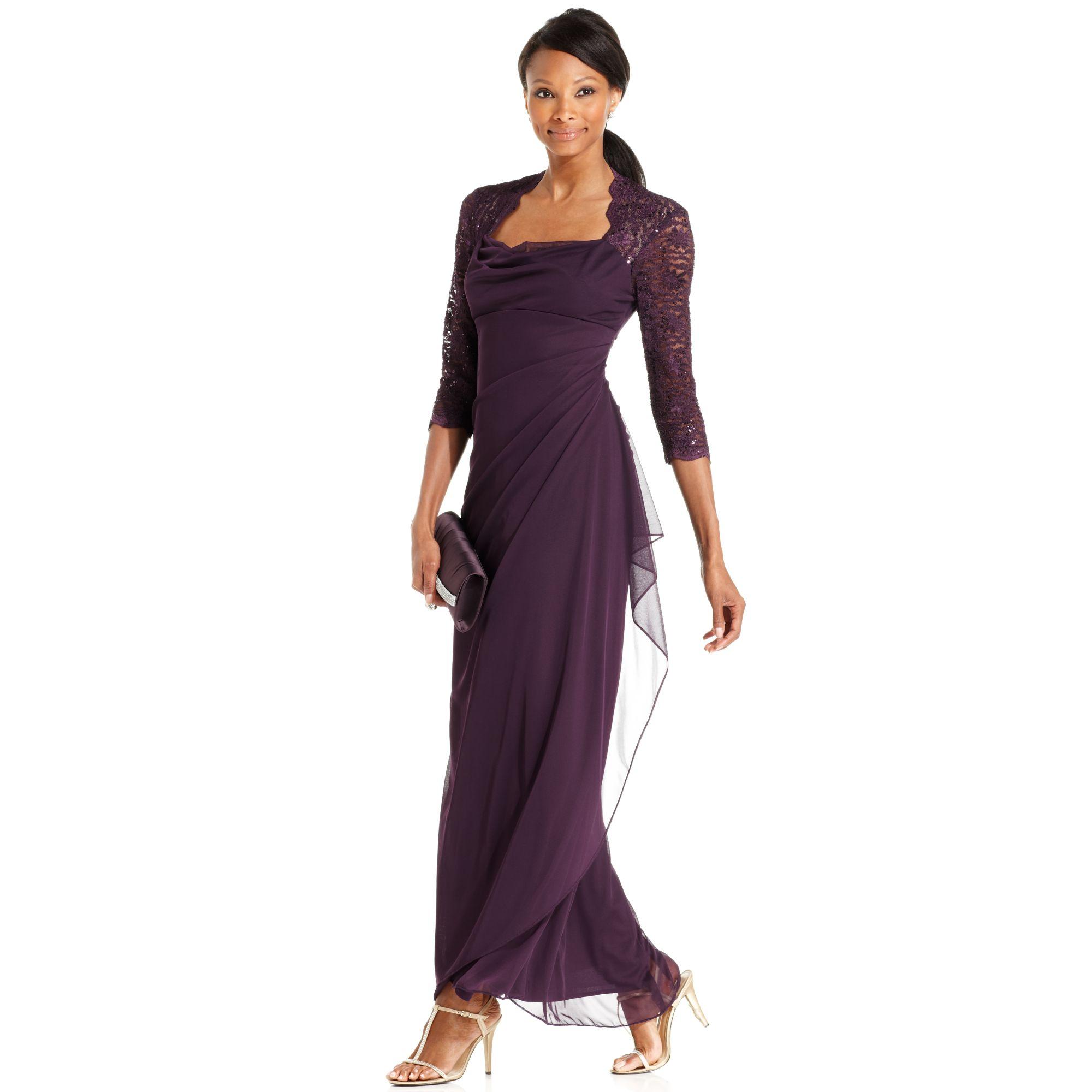 Xscape Xscape Petite Dress Threequartersleeve Sequin Lace Draped Gown ...