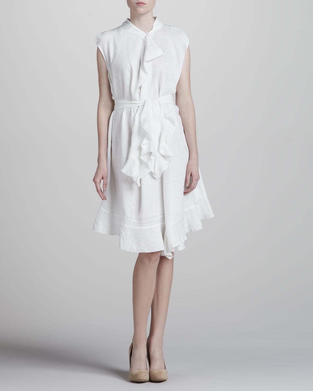 Zac posen Asymmetric Cotton Dress White 4 in White | Lyst