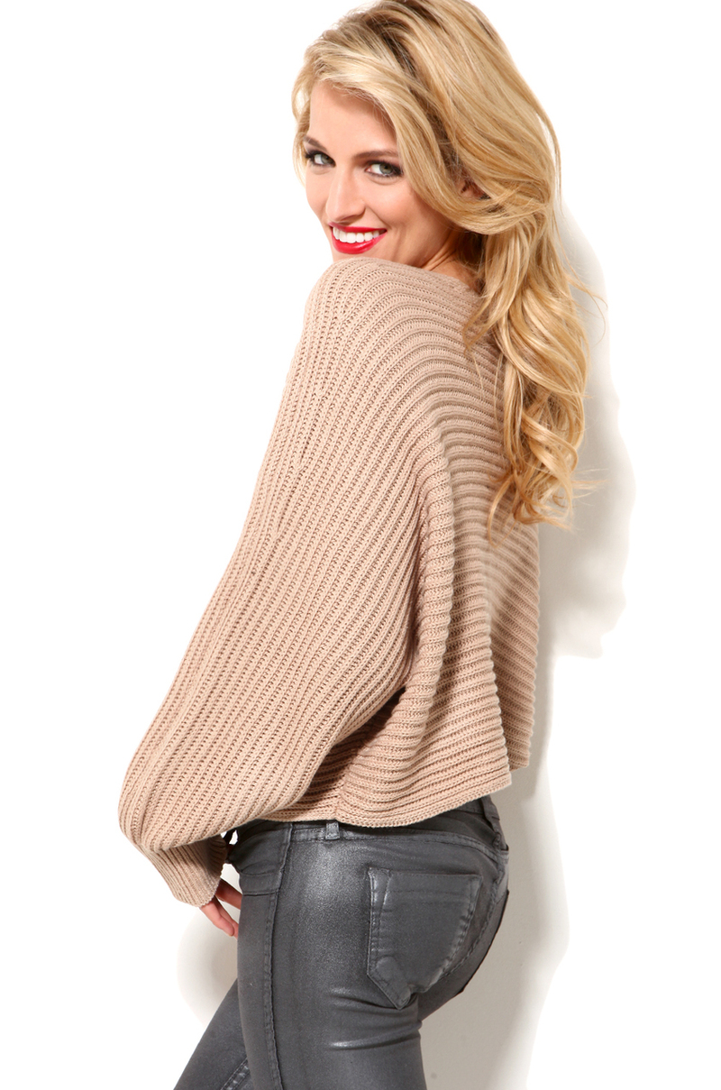 Akira Cropped Sweater in Taupe in Natural | Lyst
