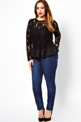 Asos Curve Heavy Peplum Top in Lace - Lyst