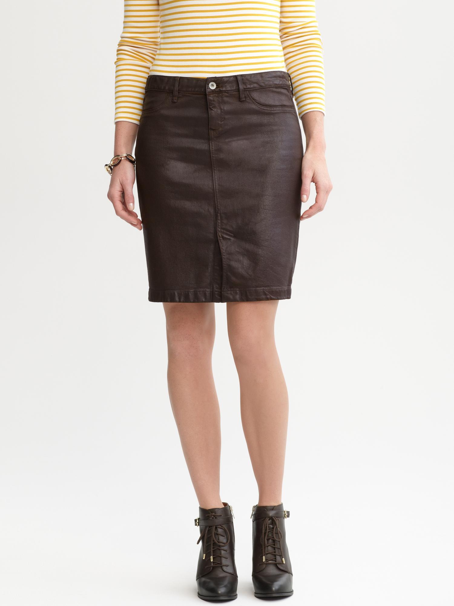 banana republic coated denim pencil skirt brown in brown
