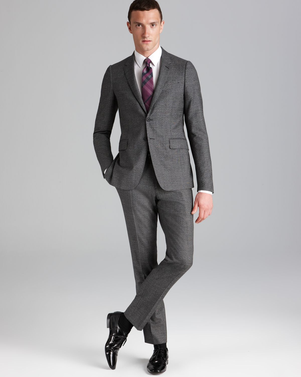 Burberry London Sandhurst Glen Plaid Travel Suit Slim Fit in Gray ...