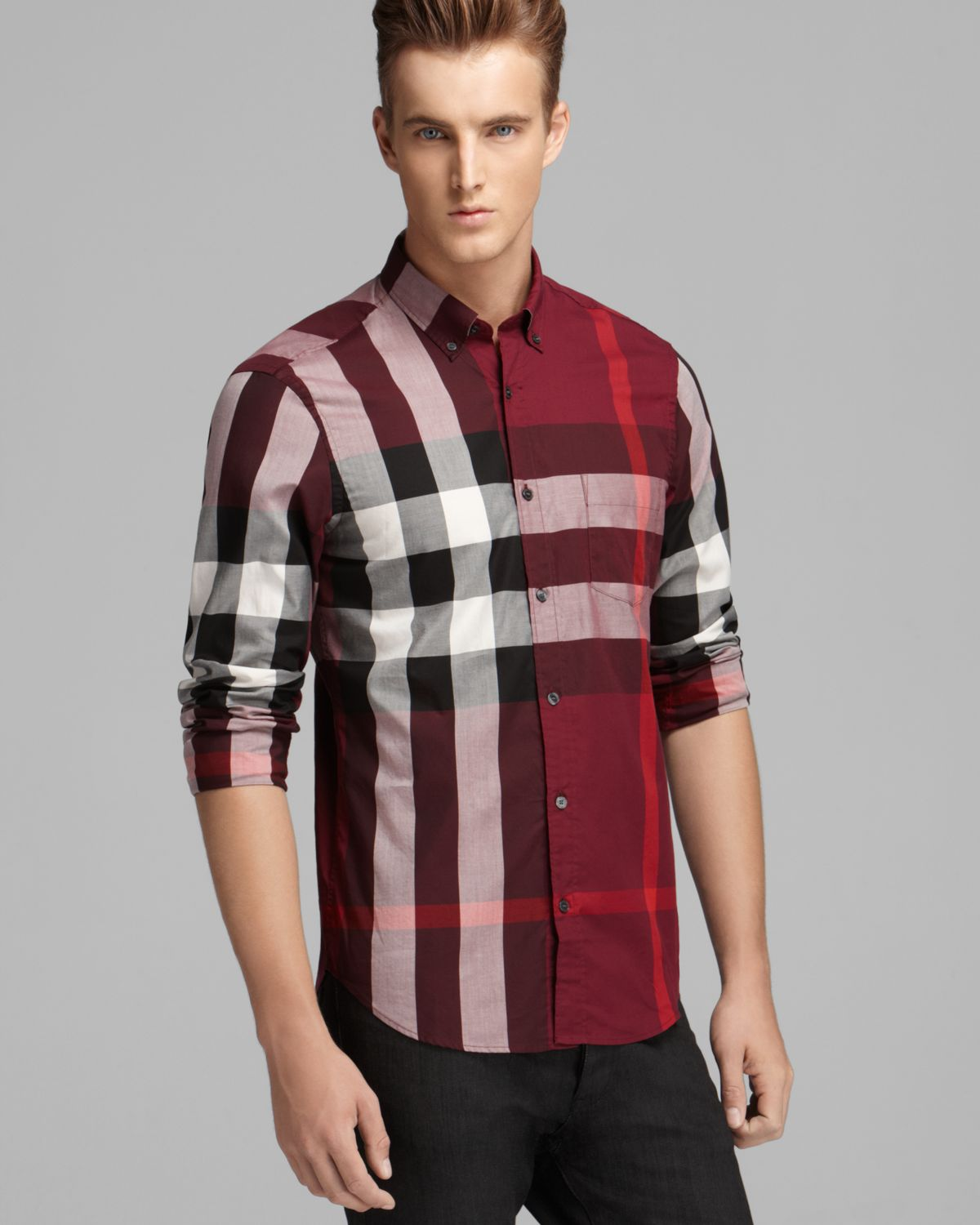 de7322c8e Burberry Brit Fred Check Sport Shirt Slim Fit in Red for Men - Lyst
