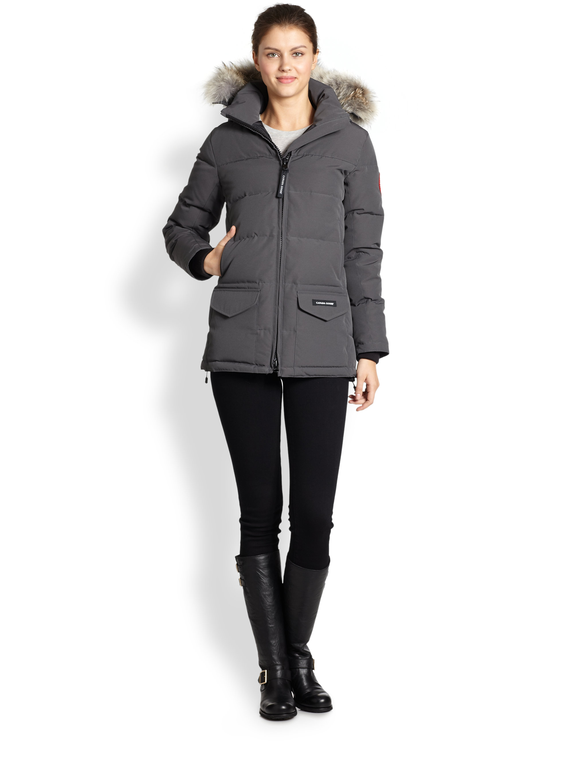 Canada Goose vest replica price - Canada goose Fur-trimmed Down-filled Solaris Puffer Jacket in Gray ...