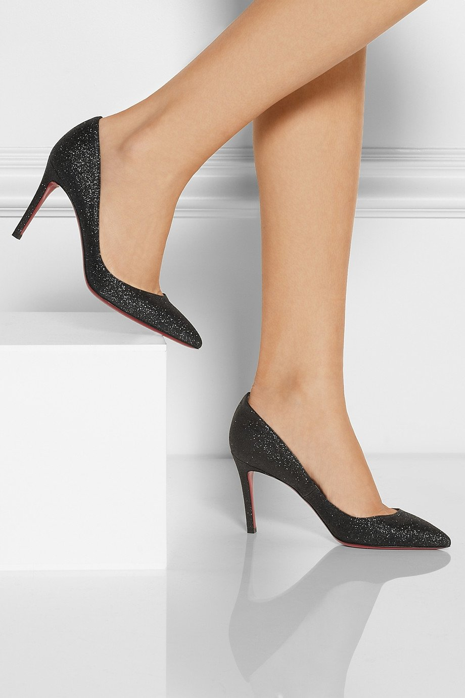 7efb422bcba uk pigalle follies 85 leather pumps christian louboutin mytheresa ef50c  ad5dd  official lyst christian louboutin the pigalle 85 glittered pumps in  black ...