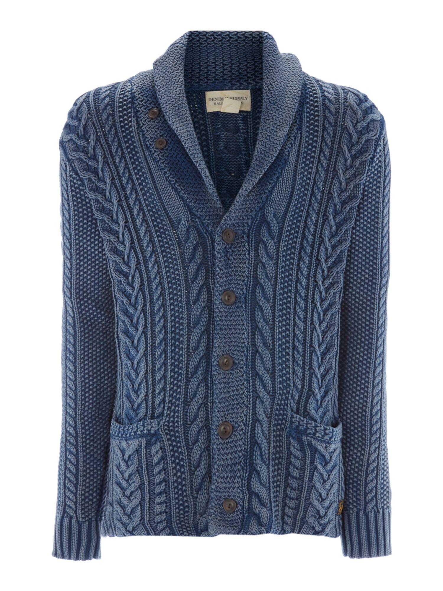 Denim Jacket Knitting Pattern : Denim & supply ralph lauren Cable Knit Shawl Cardigan in Blue for Men Lyst