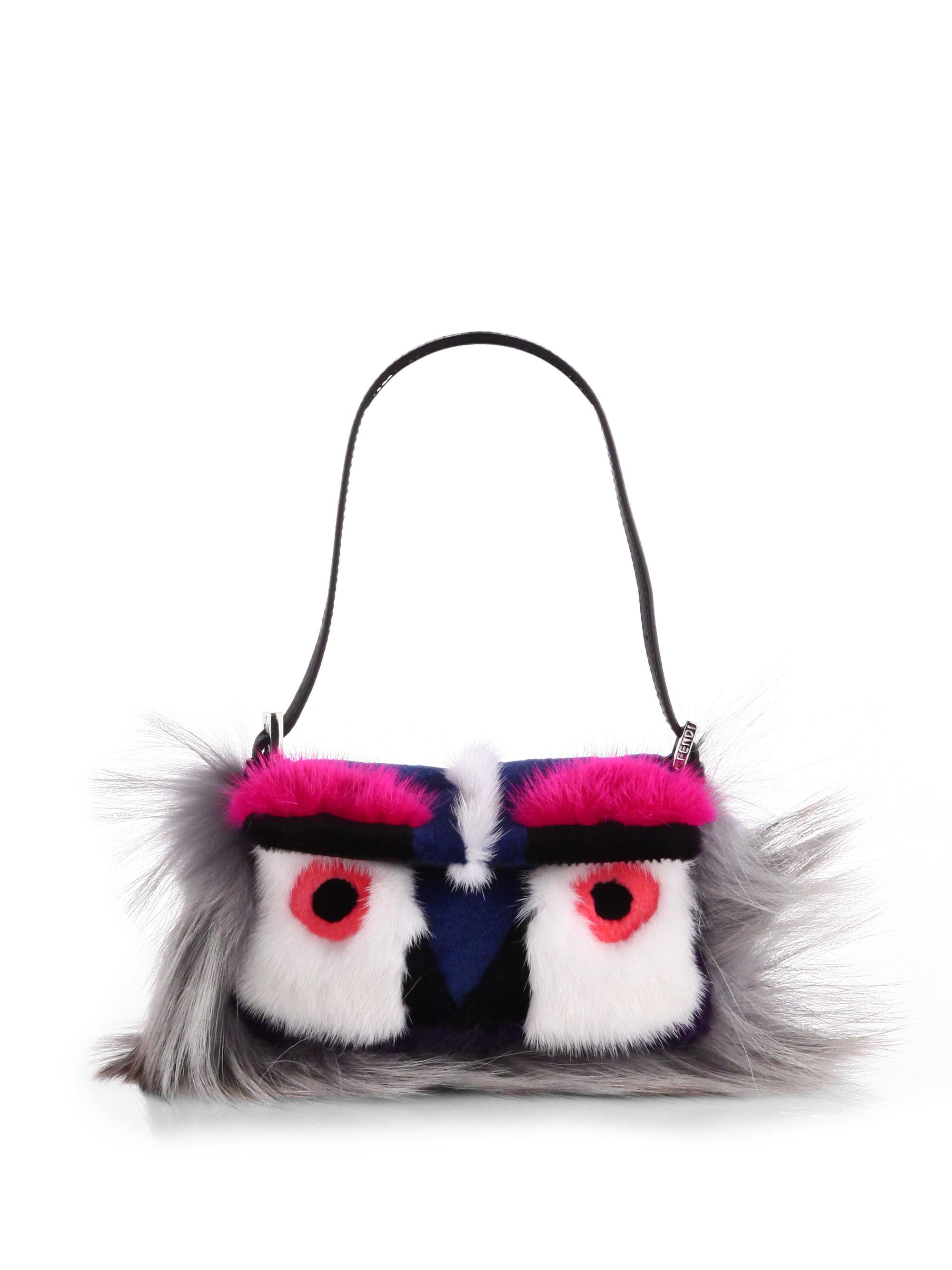 order fendi peekaboo large leather satchel bag b4edf b9bea  real lyst fendi  mixed fur mini bird baguette d1db5 7e2c8 10d47e16472ef