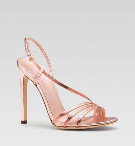 Gucci Othilia Evening High Heel Sandal In Gold Rose Gold