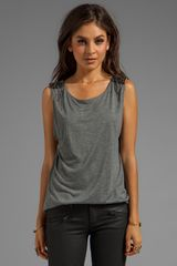 Haute Hippie Muscle Tee with Embellished Shoulders in Gray - Lyst