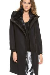Helmut Lang Fur Collar Coat - Lyst
