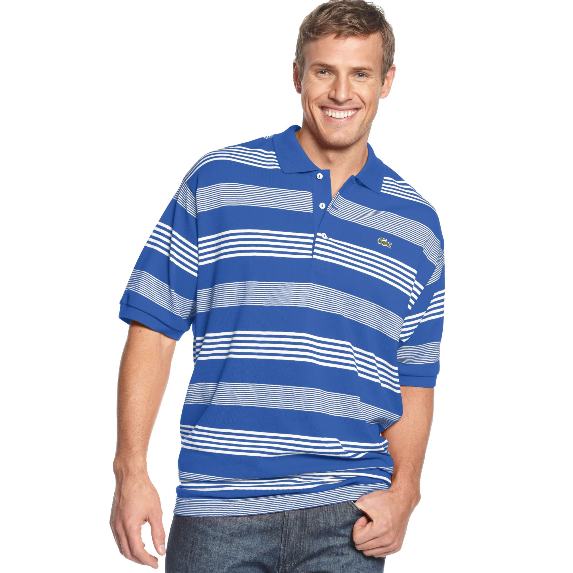 Lacoste short sleeve stripe pique polo shirt in blue for for Lacoste stripe pique polo shirt