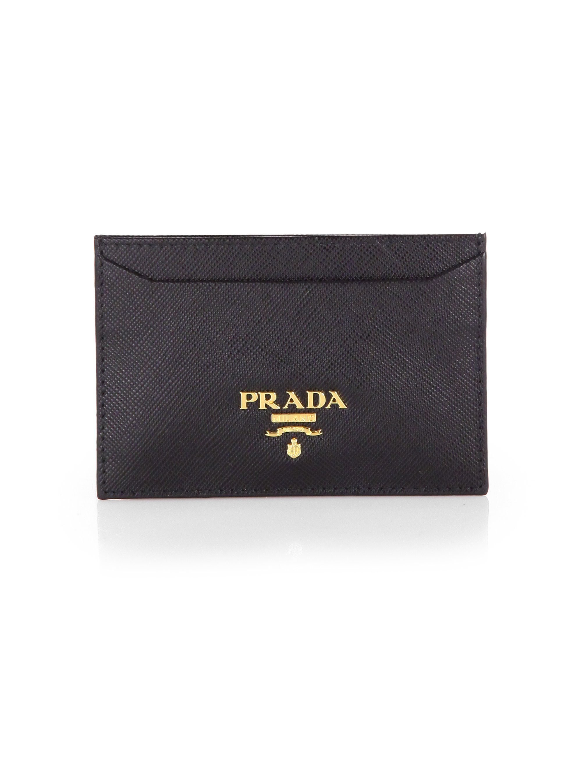 b37f9473adb8 ... amazon lyst prada saffiano credit card holder in black 20b3d af7eb