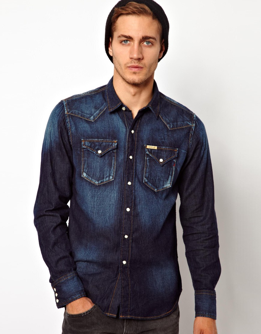 Shop for men's denim and chambray shirts with ASOS. Browse our men's jean shirt styles, from check to stripes, long sleeve to three-quarter sleeve shirts.
