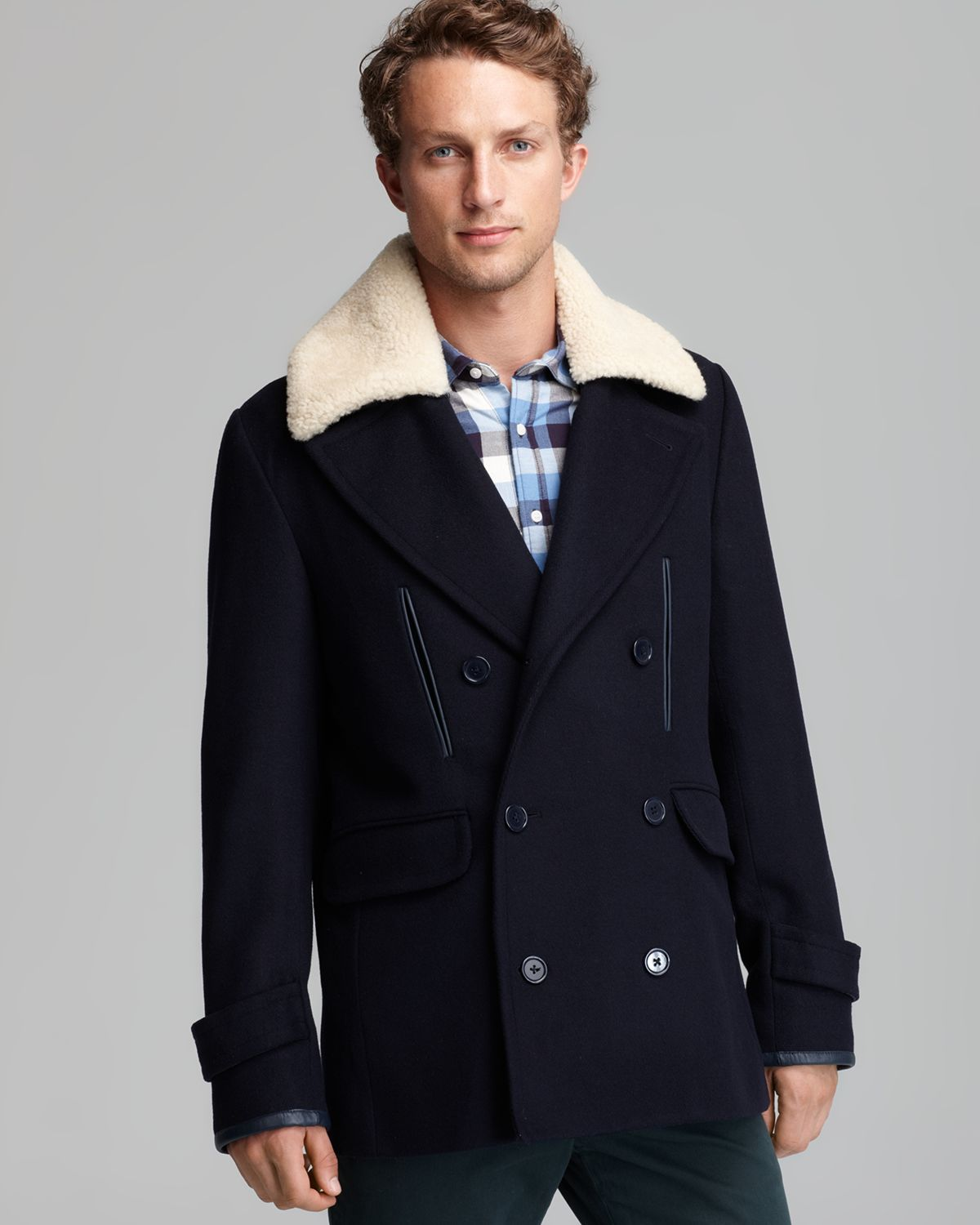 Shipley & halmos Farrand Shearling Collar Coat in Blue for Men | Lyst