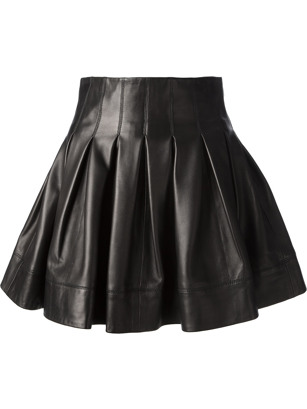 sly010 flared leather skirt in black lyst