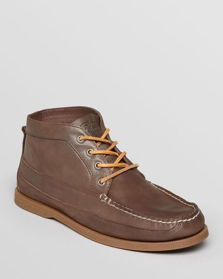 sperry top sider ao boat leather chukka boots in brown for