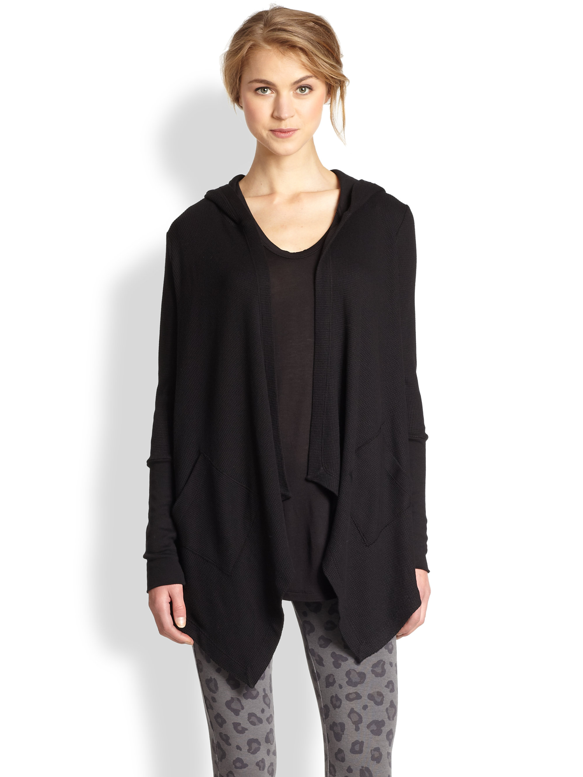 Splendid Hooded Draped Thermal Cardigan in Black | Lyst