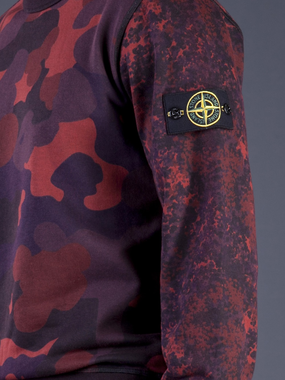 Lyst Stone Island Camo Print Sweatshirt In Red For Men