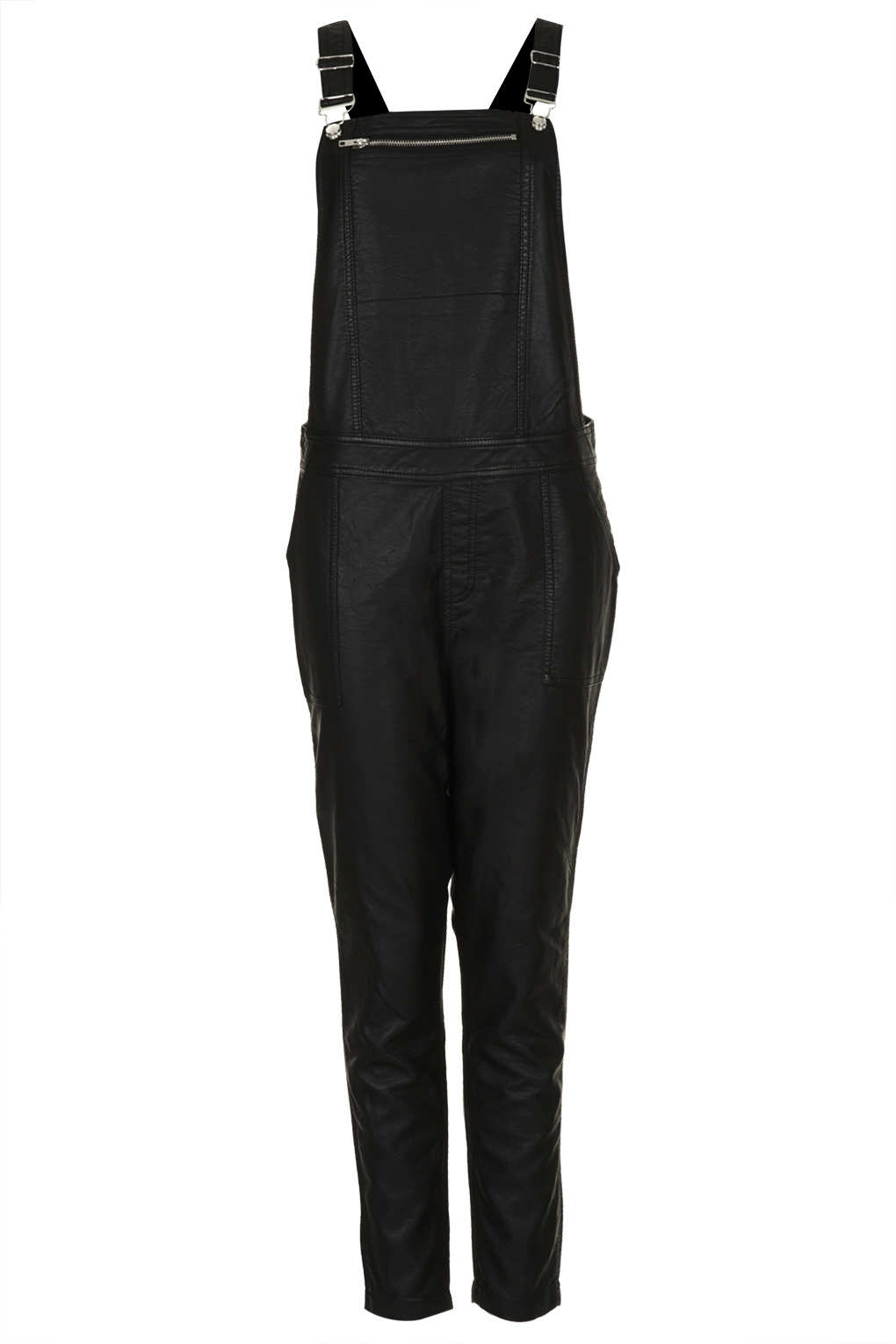 Topshop Leather Look Dungaree in Black | Lyst