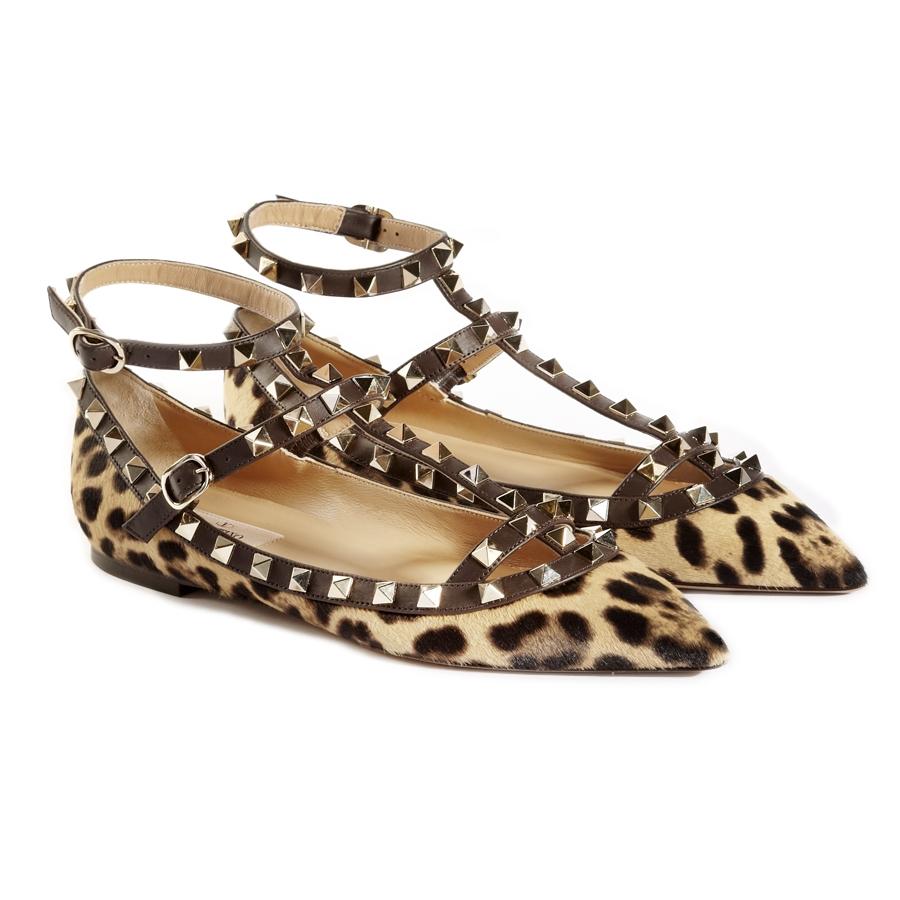 valentino leopard rockstud flats in animal leopard lyst. Black Bedroom Furniture Sets. Home Design Ideas