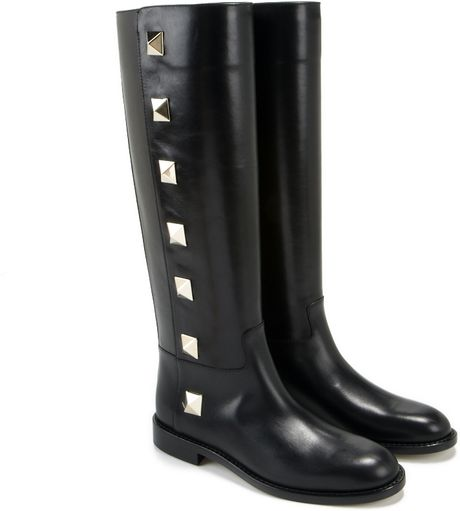 valentino studded leather knee high boots in black lyst