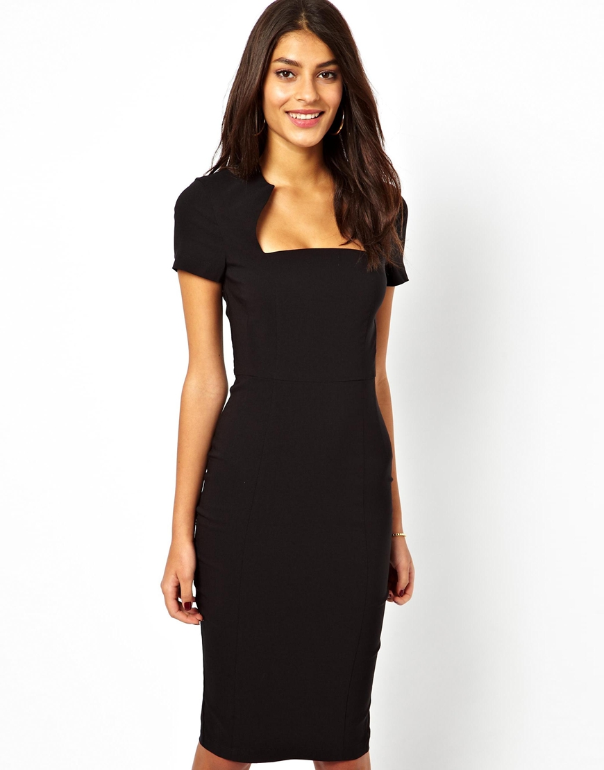 Dress Square Double Thai 100 Viscose: Asos Pencil Dress With Square Neck In Red (Black)