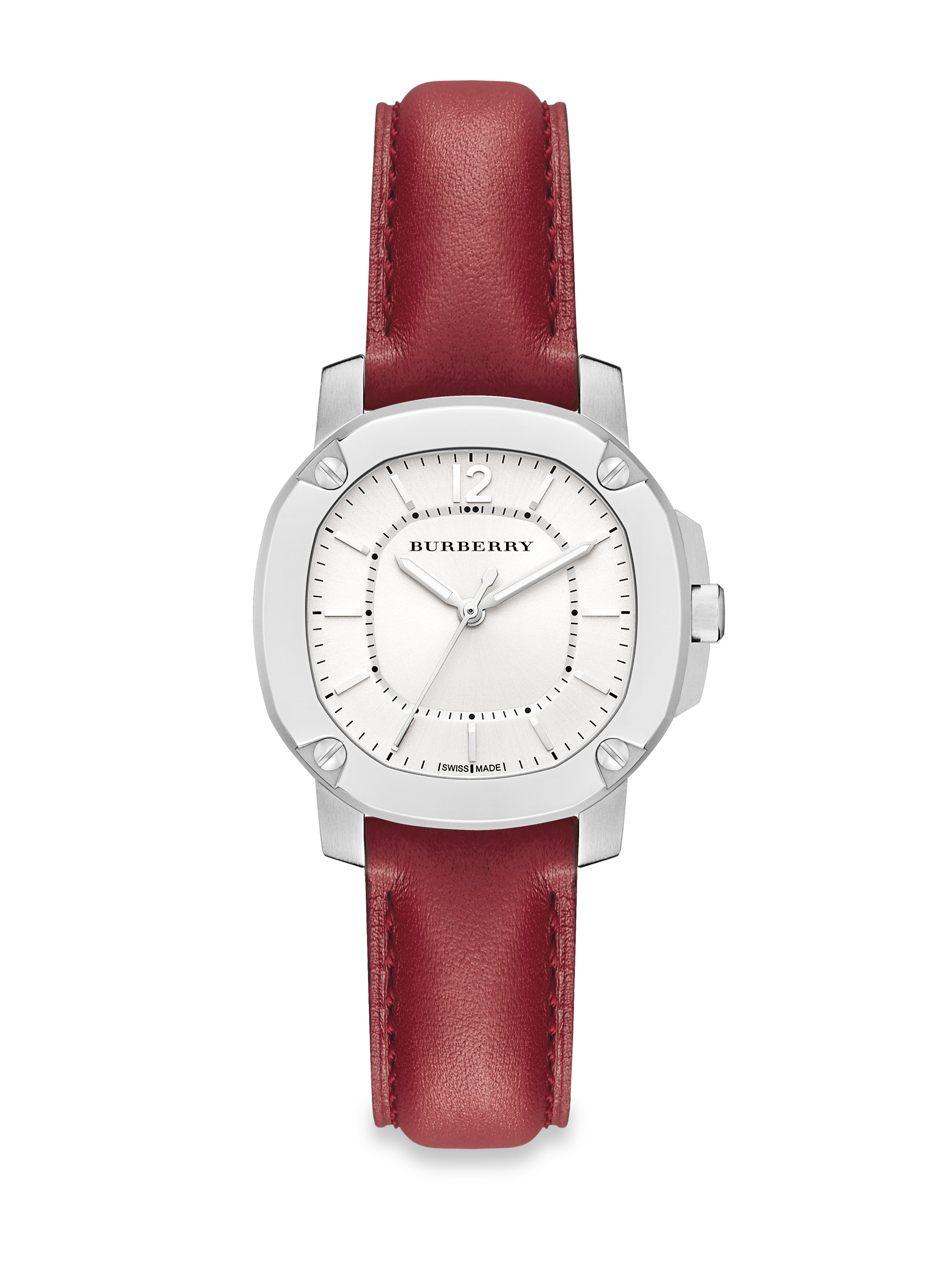 face ombre ladies leather red boum band watches pin watch