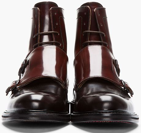 Carven Mahogany Two Tone Monk Strap Boots In Red For Men